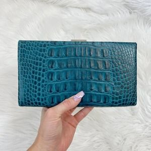 Banana Republic Teal Faux Croco Leather Clutch